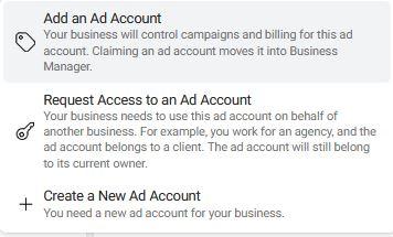 Create a new Facebook Ad Account