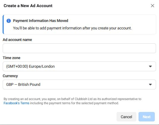 How to add a Facebook Ad Account