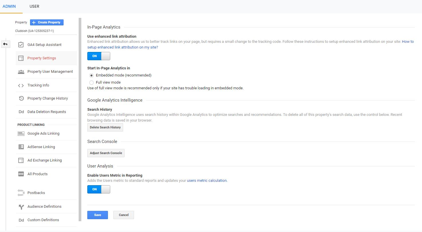 search console data sharing button