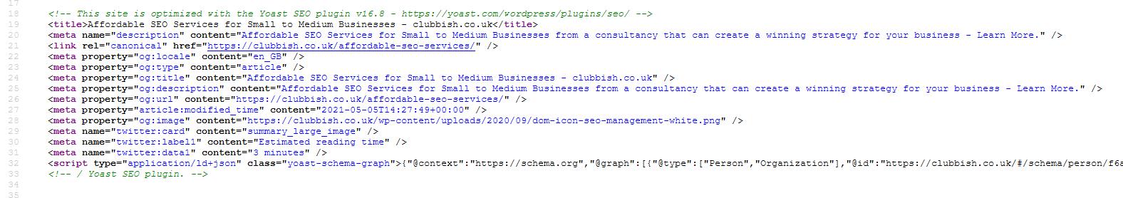 On-page meta data SEO